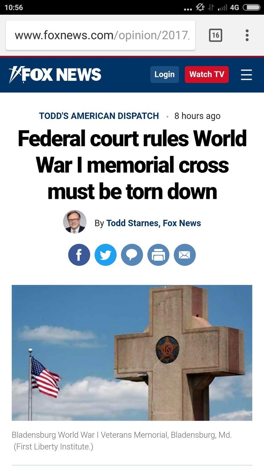 Federal court rules World War I memorial cross must be torn down. www.foxnews.com/opinion/2017/10/18/federal-court-rules-world-war-memorial-cross-must-be-torn-d WW1 memorial Statue tear down lawsuit Atheism world war usa