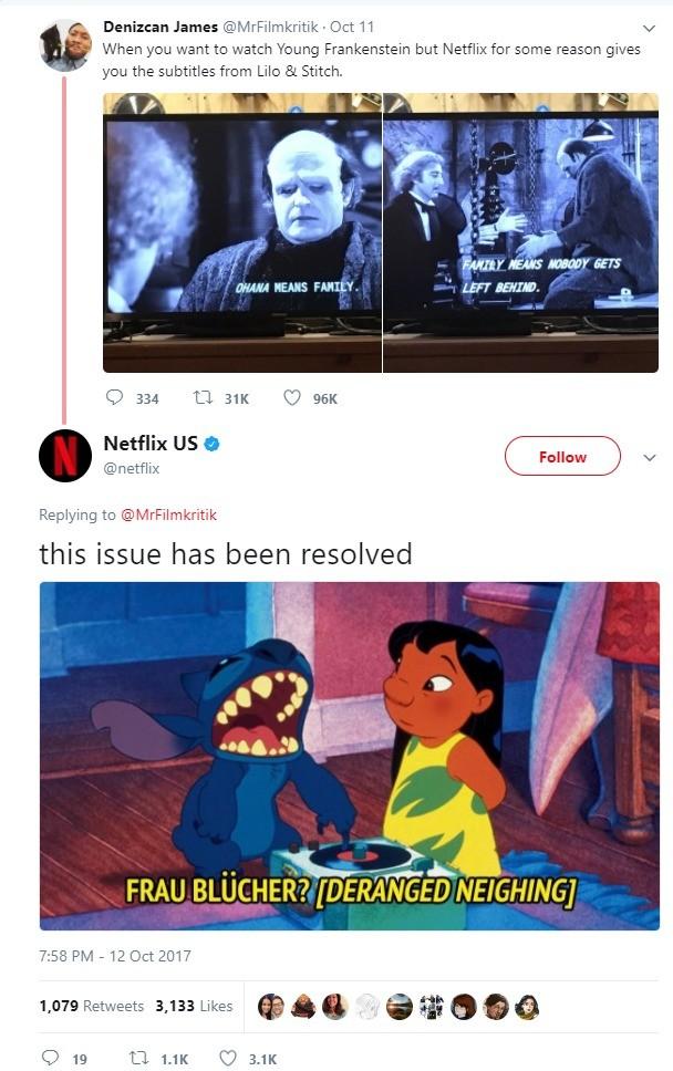 Netflix yes. twitter.com/netflix/status/9186721605.... Denizenn James (eeyh/ - Oct ll at tit When want to watch Young Frankenstein but Netflix fer same reason g Netflix yes twitter com/netflix/status/9186721605 Denizenn James (eeyh/ - Oct ll at tit When want to watch Young Frankenstein but fer same reason g