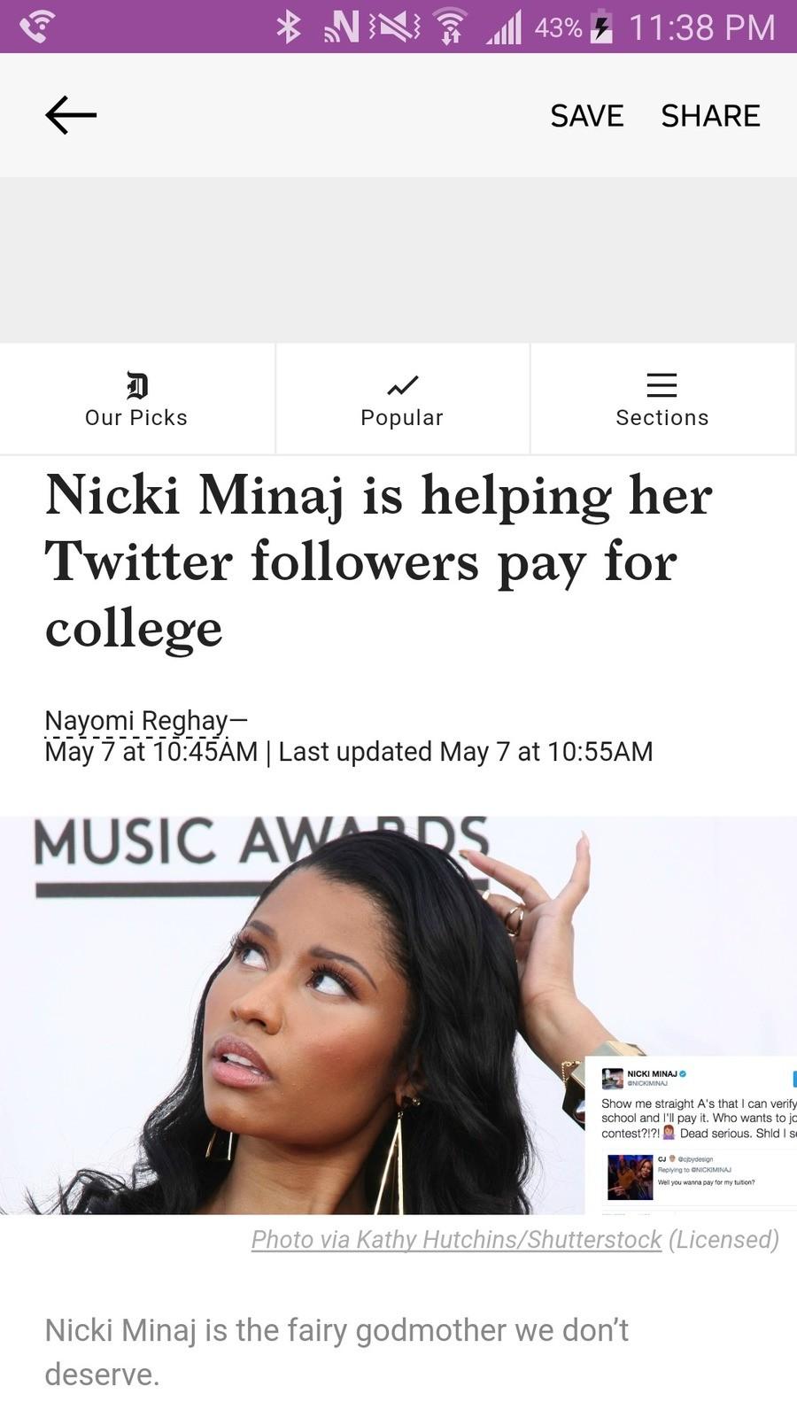 Nicki Minaj 2024. People keep joking about voting for Kanye in 8 years, but I don't see him giving anyone free college. Jokes aside, this was really nice of her nicki minaj College News