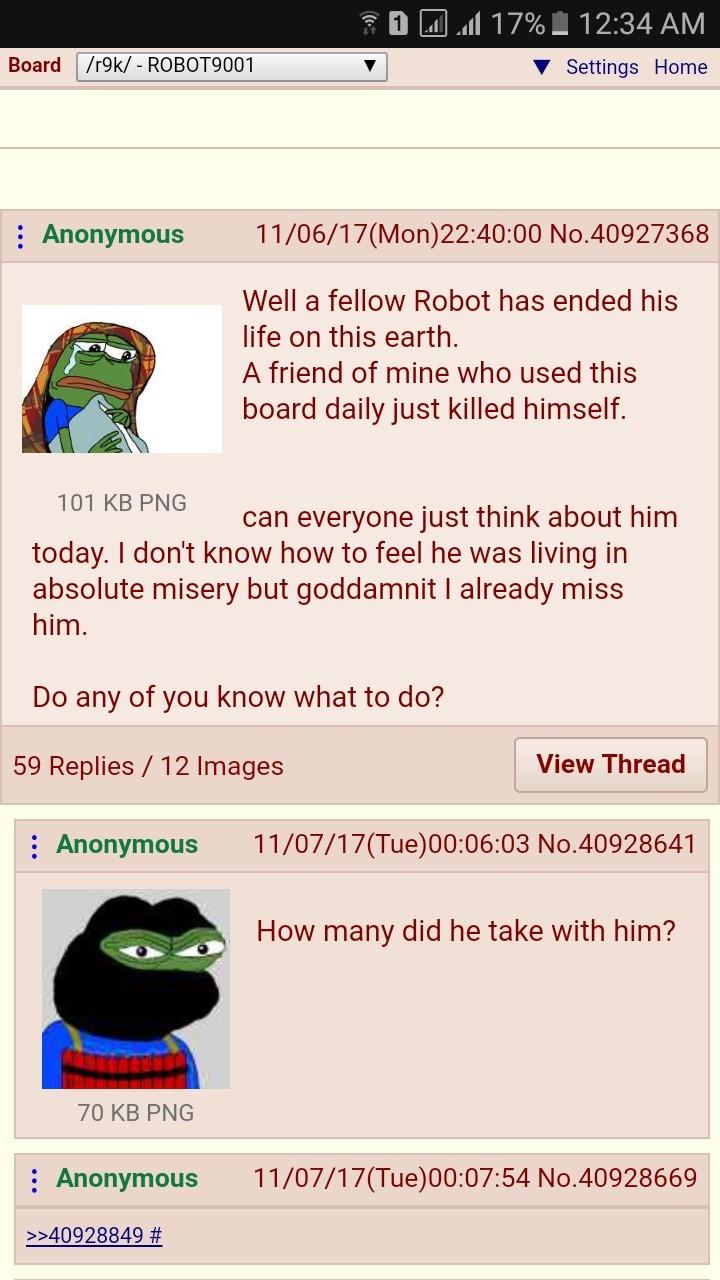 Robot's fella killed himself. . Robot's fella killed himself